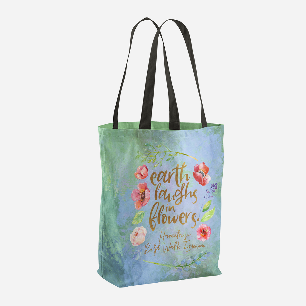 Earth laughs in flowers. Ralph Waldo Emerson Quote Tote Bag - LitLifeCo.