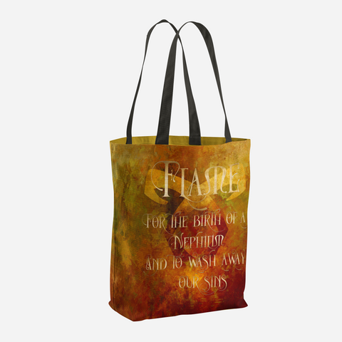 FLAME for the birth of a Nephilim.  And to wash away our sins. Shadowhunter Children's Rhyme Quote Tote Bag - LitLifeCo.