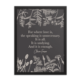 For where love is... Claire Fraser Quote Art Print