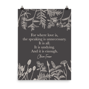For where all love is... Claire Fraser Quote Art Print - LitLifeCo.