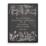 For where love is... Claire Fraser Quote Art Print - LitLifeCo.