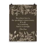For where love is... Claire Fraser Quote in Sepia Art Print