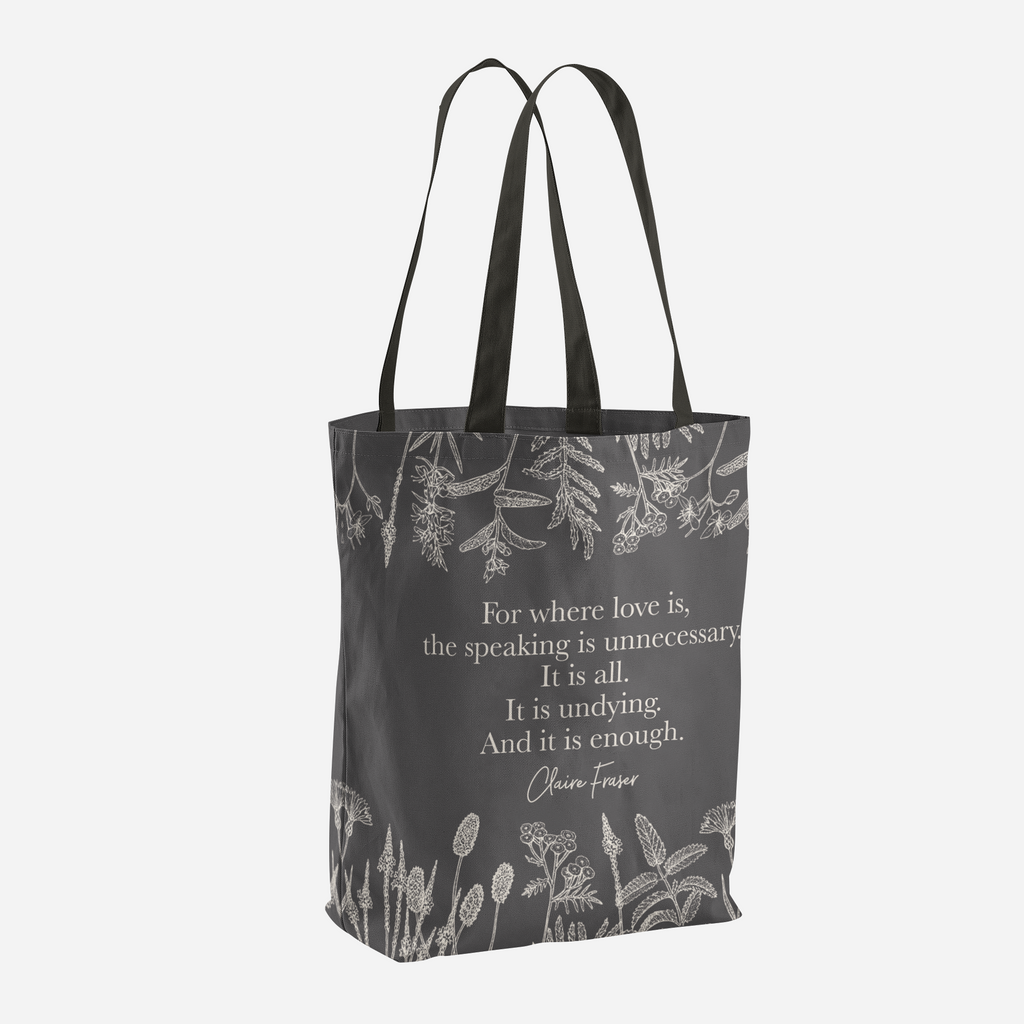 For where love is... Claire Fraser Quote Tote Bag - LitLifeCo.