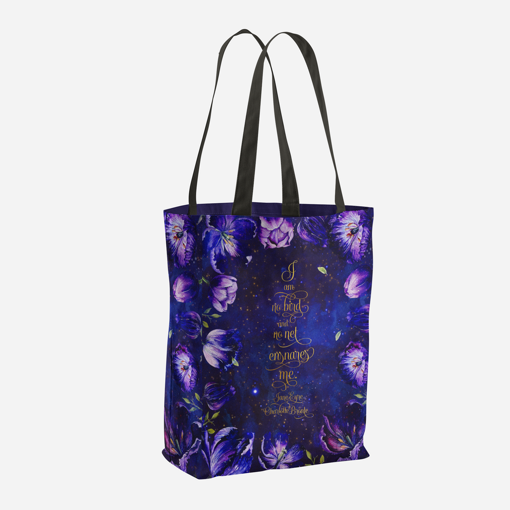 I am no bird and no net ensnares me. Jane Eyre Quote Tote Bag - LitLifeCo.
