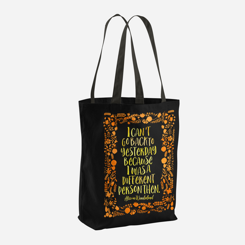 I can't go back to yesterday... Alice in Wonderland Quote Tote Bag - LitLifeCo.