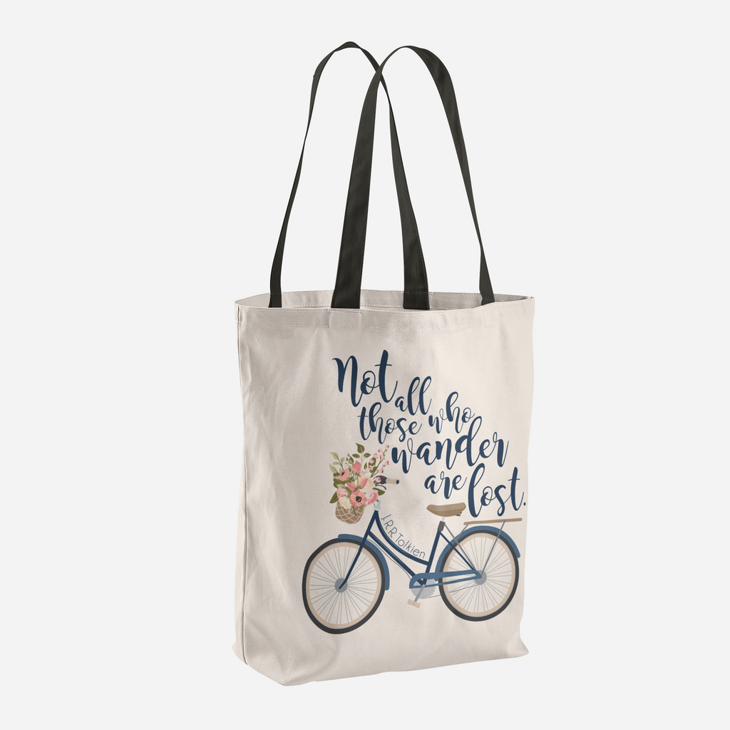 Not all those who wander are lost. Lord of the Rings Quote Tote Bag - LitLifeCo.