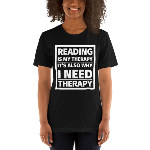 Reading is My Therapy Unisex Short Sleeved Shirt - LitLifeCo.