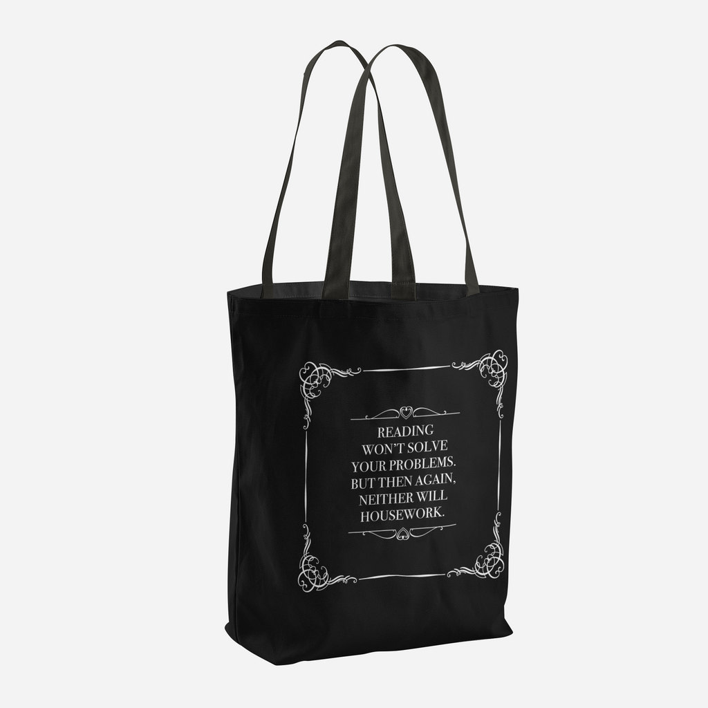 READING WON'T SOLVE YOUR PROBLEMS Tote Bag - LitLifeCo.