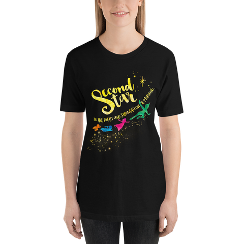 Second star to the right... Peter Pan Quote Unisex Short Sleeved Shirt