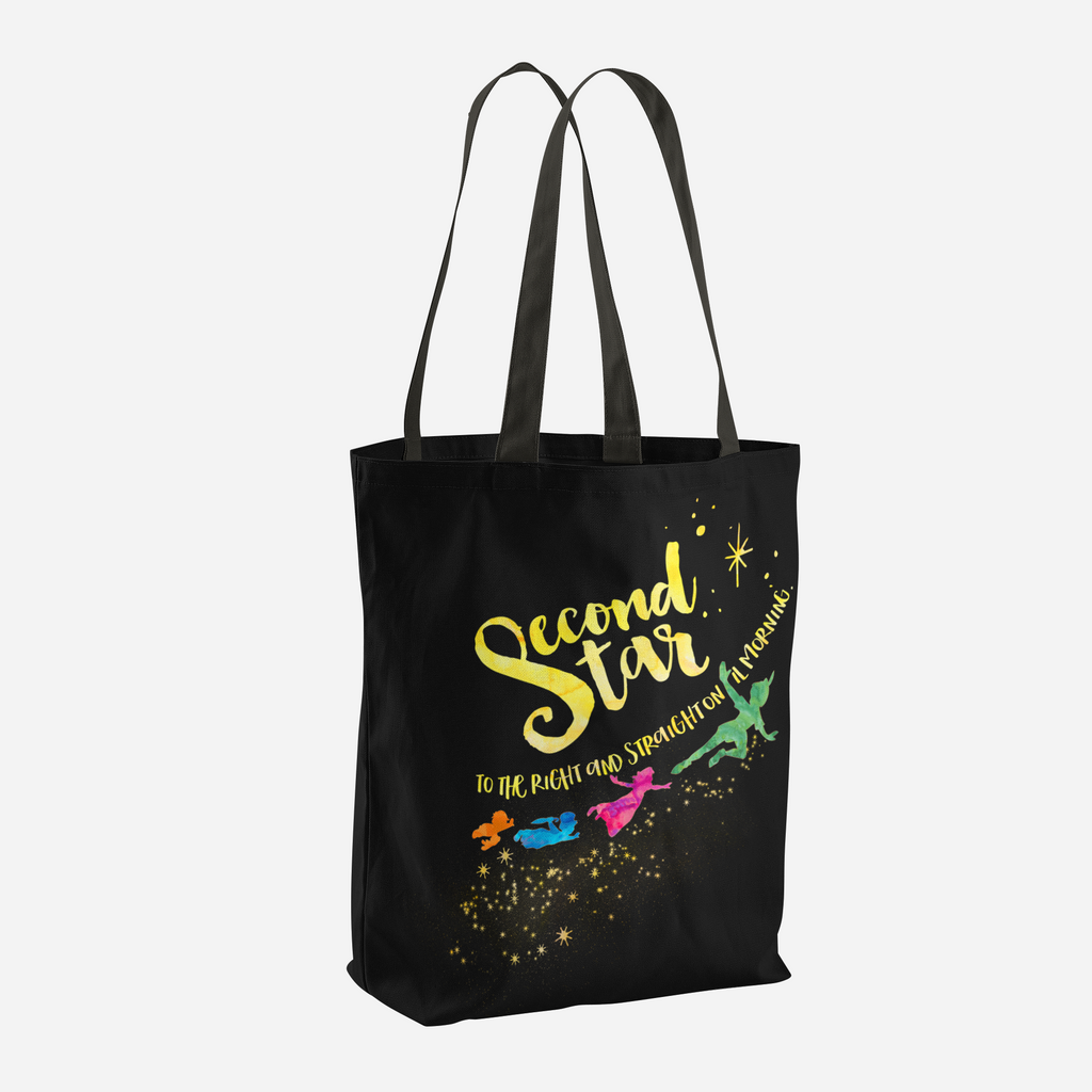 Second star to the right and straight on 'til morning. Peter Pan Quote Tote Bag - LitLifeCo.