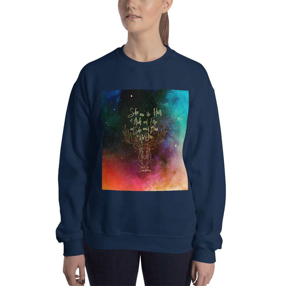 She was the heir of ash and fire... Heir of Fire (Throne of Glass Series) Quote Unisex Sweatshirt - LitLifeCo.