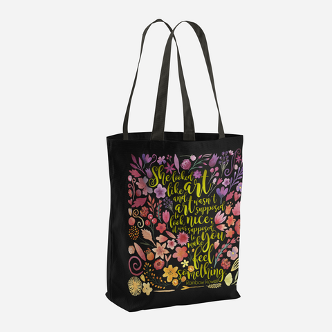 She looked like art... Quote Tote Bag - LitLifeCo.