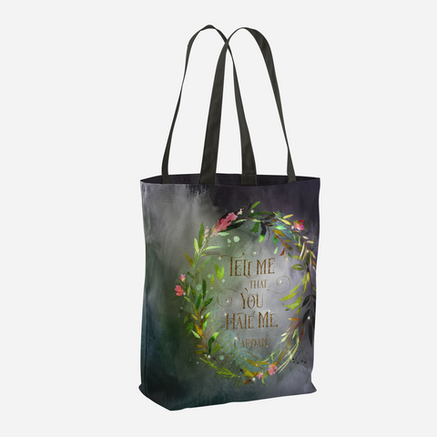 Tell me that you hate me. Cardan. The Wicked King Quote Tote Bag - LitLifeCo.