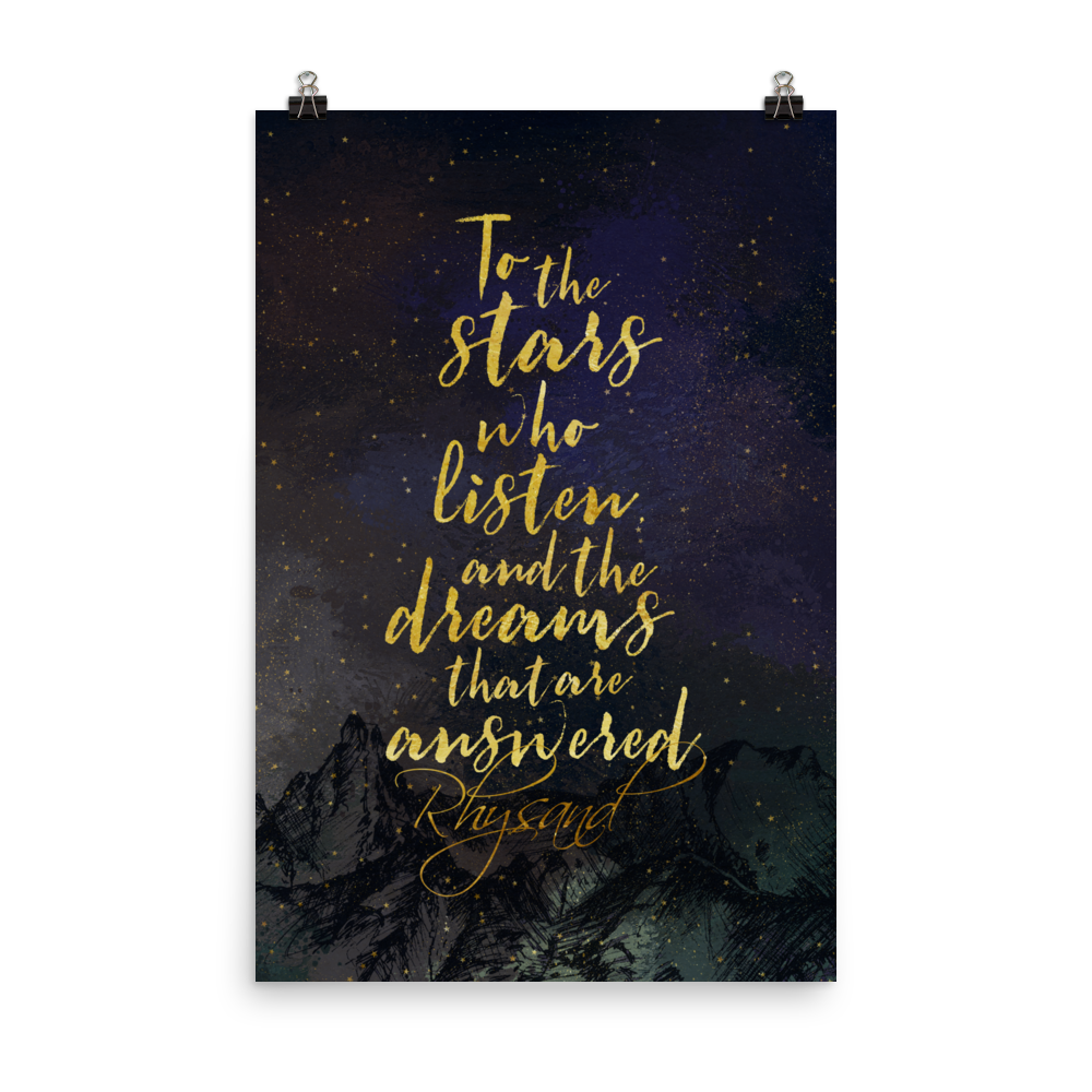 To the stars who listen... Rhysand Art Print - LitLifeCo.