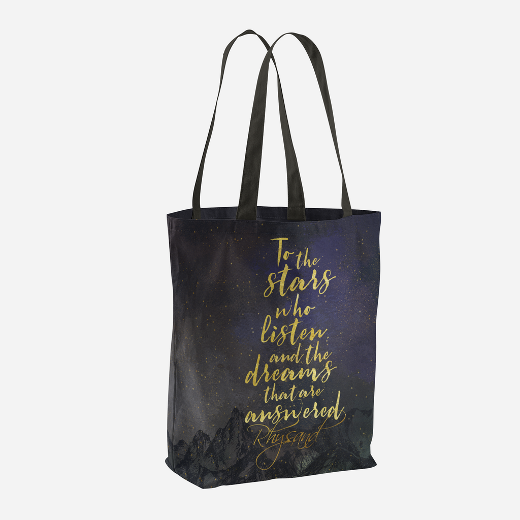 To the stars who listen, and the dreams that are answered. A Court of Mist and Fury (ACOMAF) Quote Tote Bag - LitLifeCo.