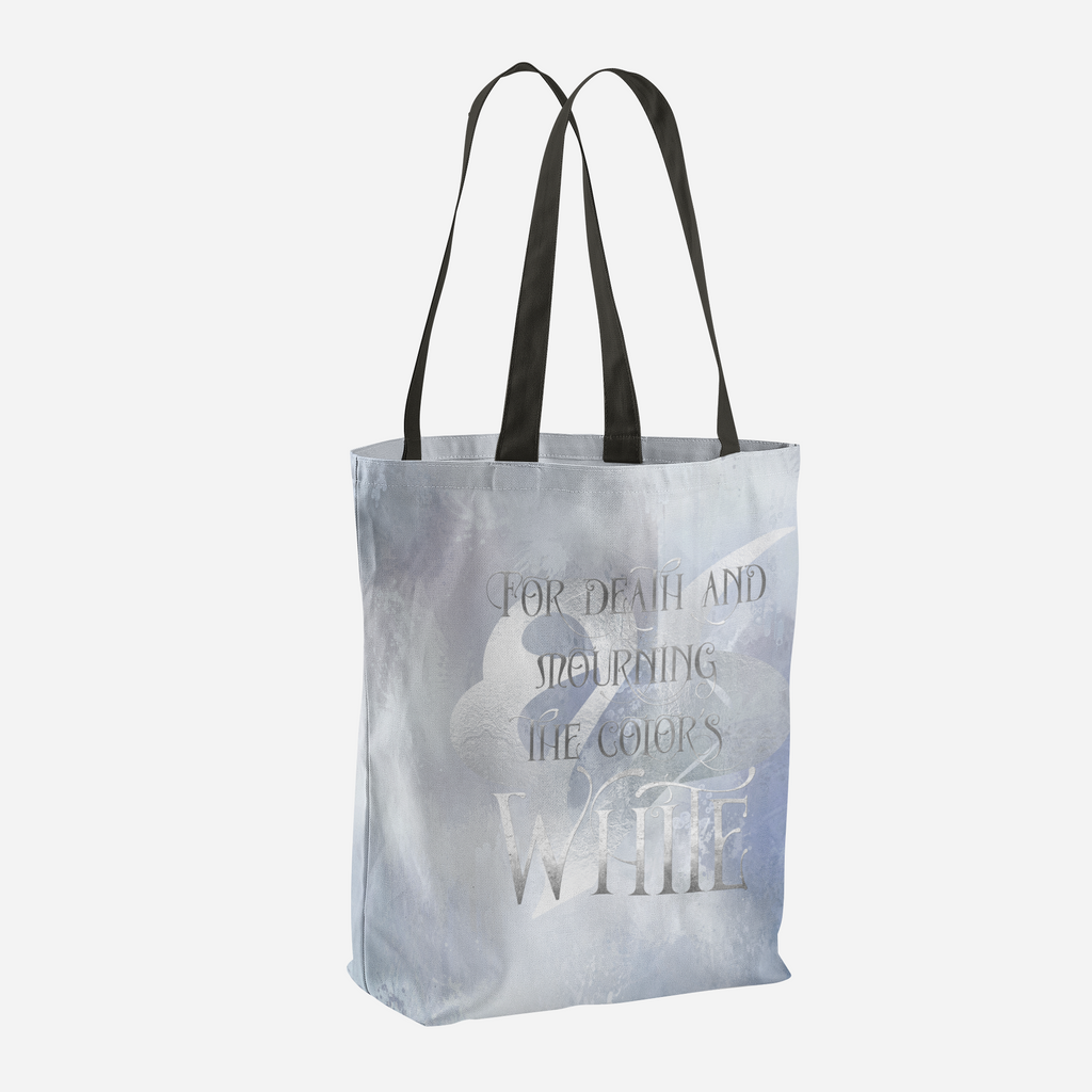 For death and mourning the color's WHITE. Shadowhunter Children's Rhyme Quote Tote Bag - LitLifeCo.
