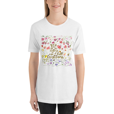 You are all the colors in one... All The Bright Places Quote Unisex Short Sleeved Shirt - LitLifeCo.