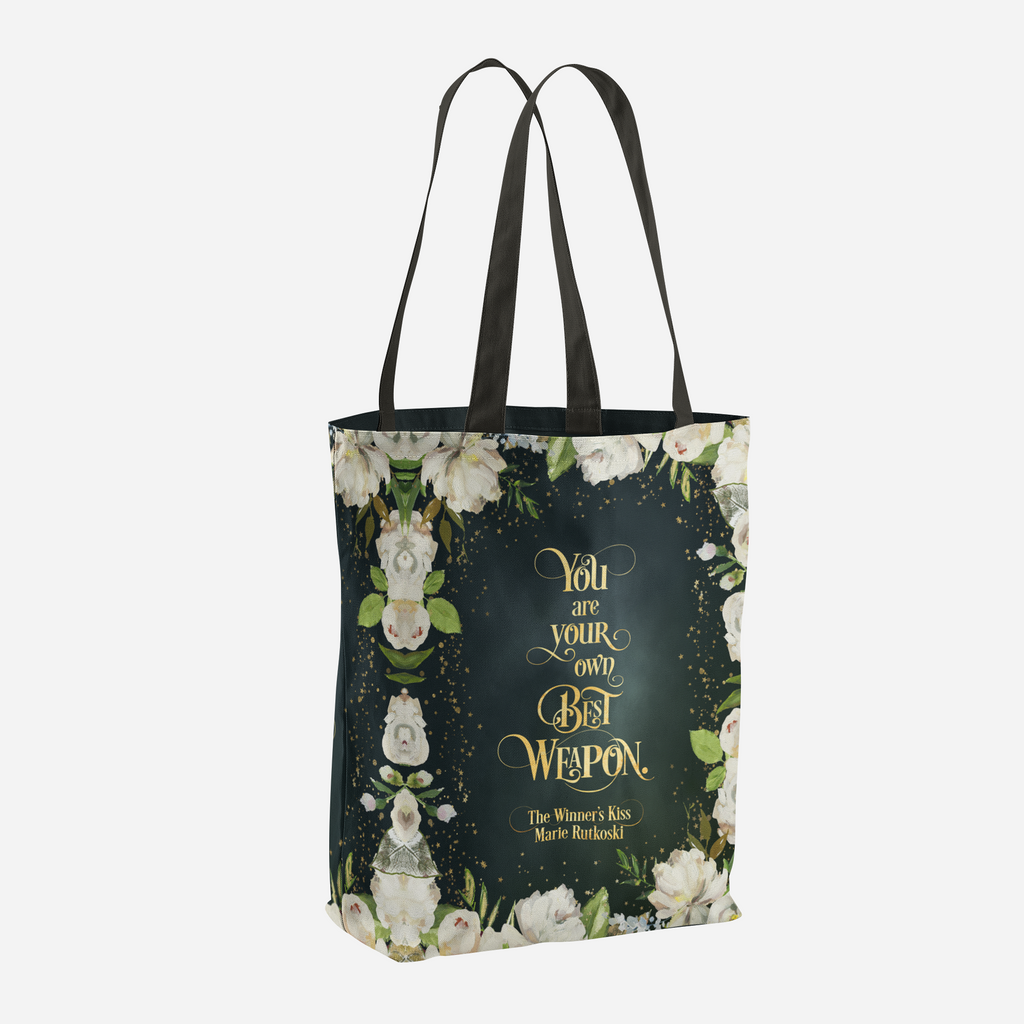 You are your own best weapon. The Winner's Kiss Quote Tote Bag - LitLifeCo.