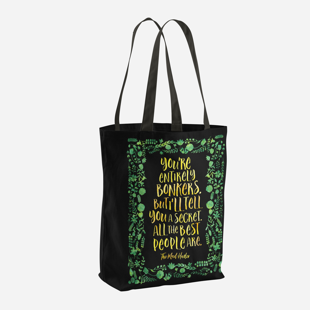 You're entirely bonkers... Alice in Wonderland Quote Tote Bag - LitLifeCo.