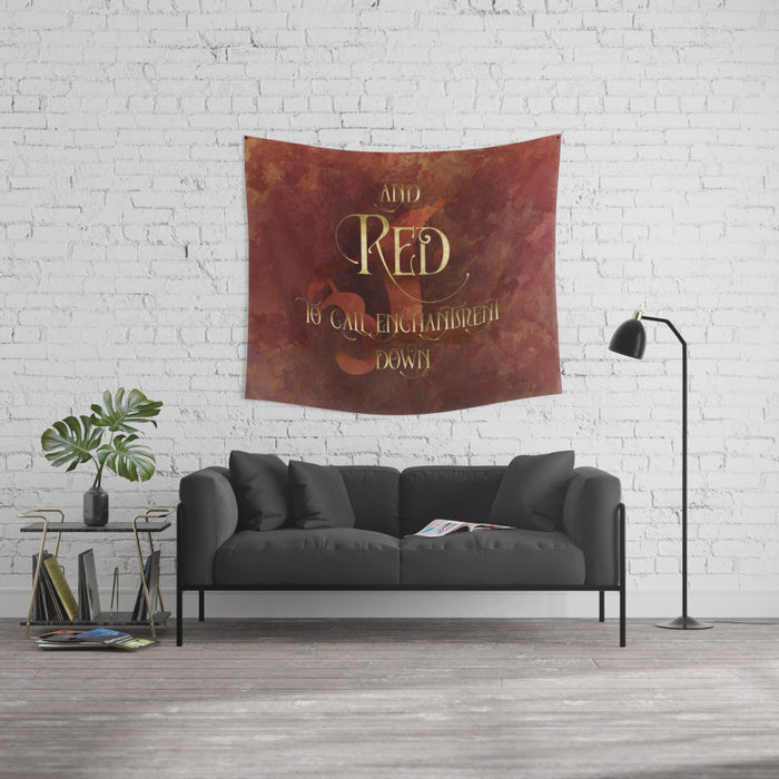 And RED to call enchantment down. Shadowhunter Children's Rhyme Quote Wall Tapestry - LitLifeCo.