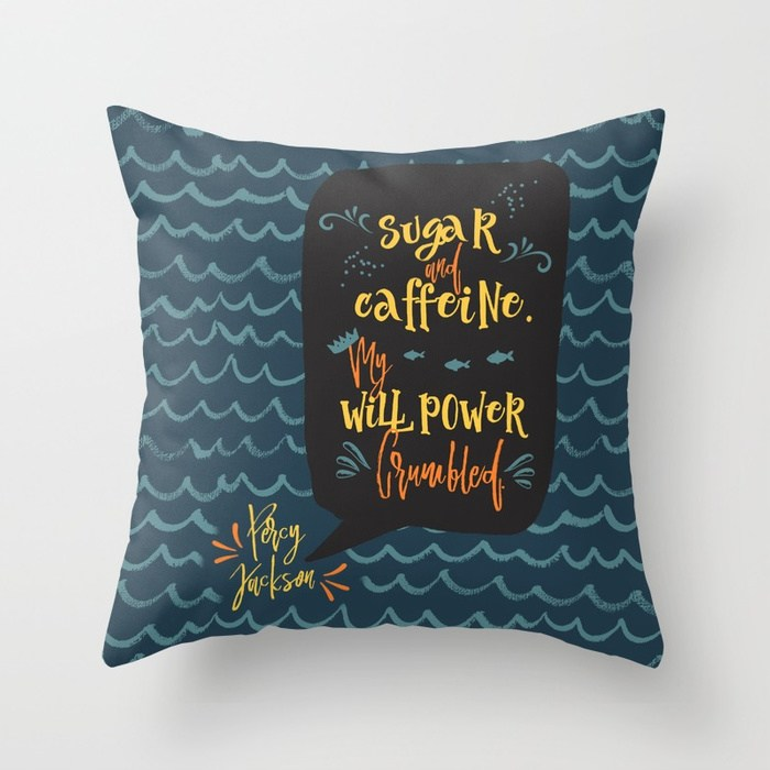 Sugar and caffeine... Percy Jackson Quote Pillow - LitLifeCo.