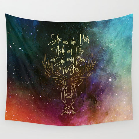 She was the heir of ash and fire... Heir of Fire (Throne of Glass Series) Quote Wall Tapestry