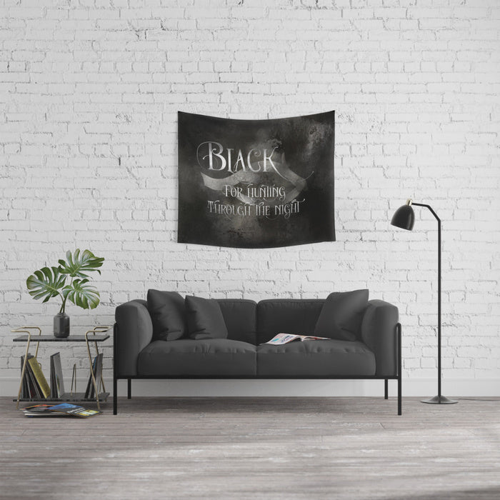 BLACK for hunting through the night. Shadowhunter Children's Rhyme Quote Wall Tapestry - LitLifeCo.