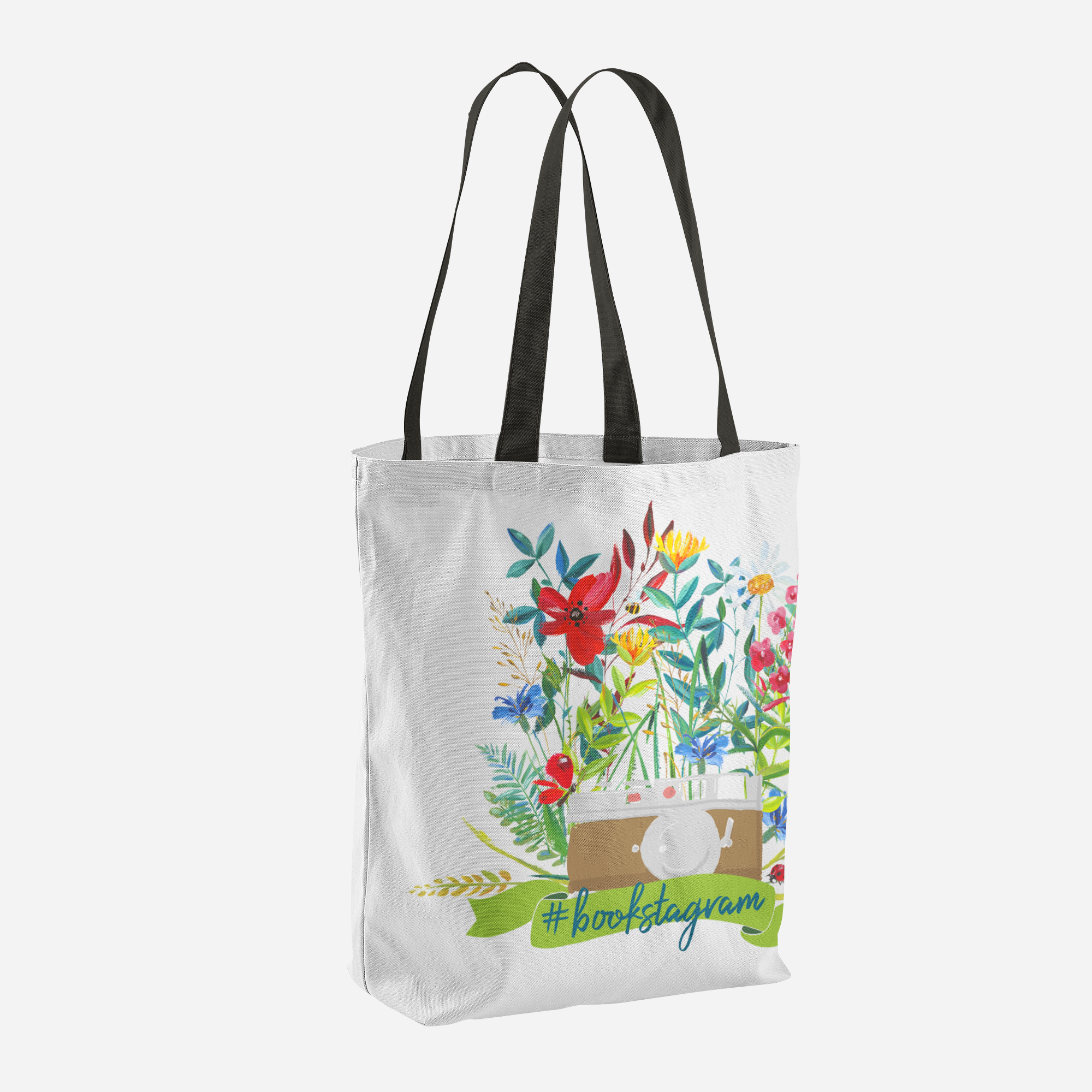 #bookstagram Floral Tote Bag - LitLifeCo.