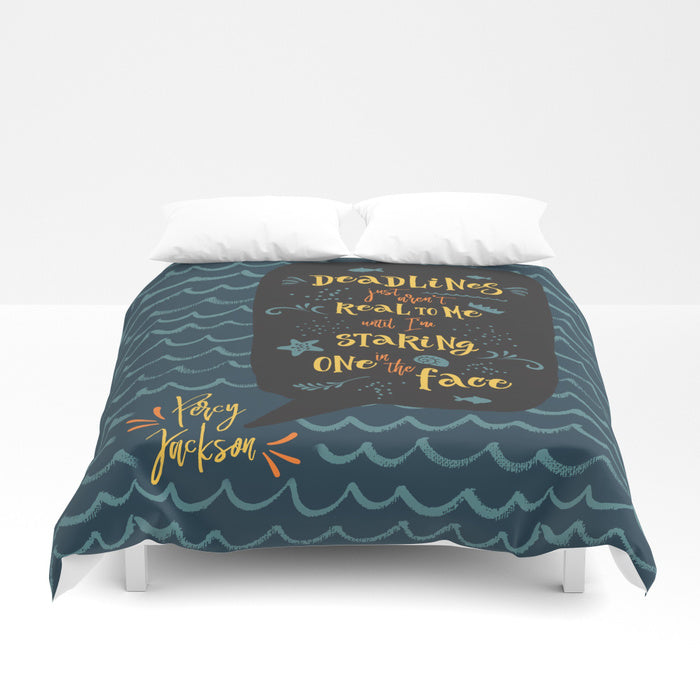 Deadlines... Percy Jackson Quote Duvet Cover - LitLifeCo.