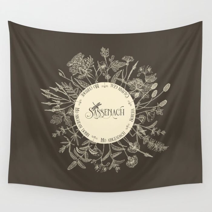 Dear Sassenach in Sepia Wall Tapestry - LitLifeCo.