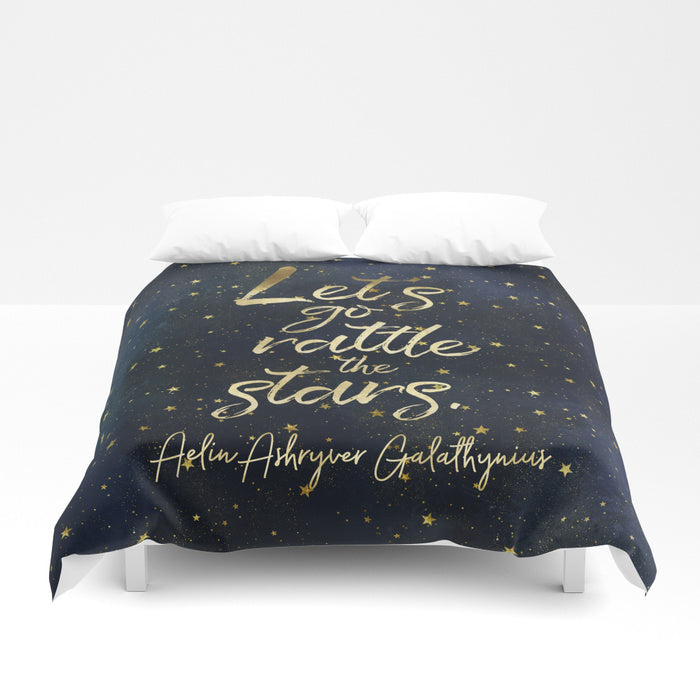 Let's go rattle the stars. Aelin Ashryver Galathynius Quote Duvet Cover - LitLifeCo.