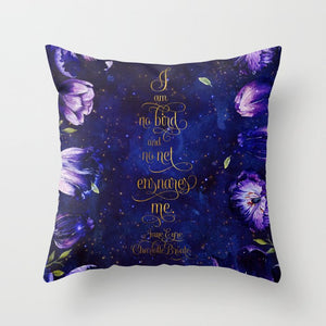 I am no bird and no net ensnares me. Jane Eyre Quote Pillow - LitLifeCo.