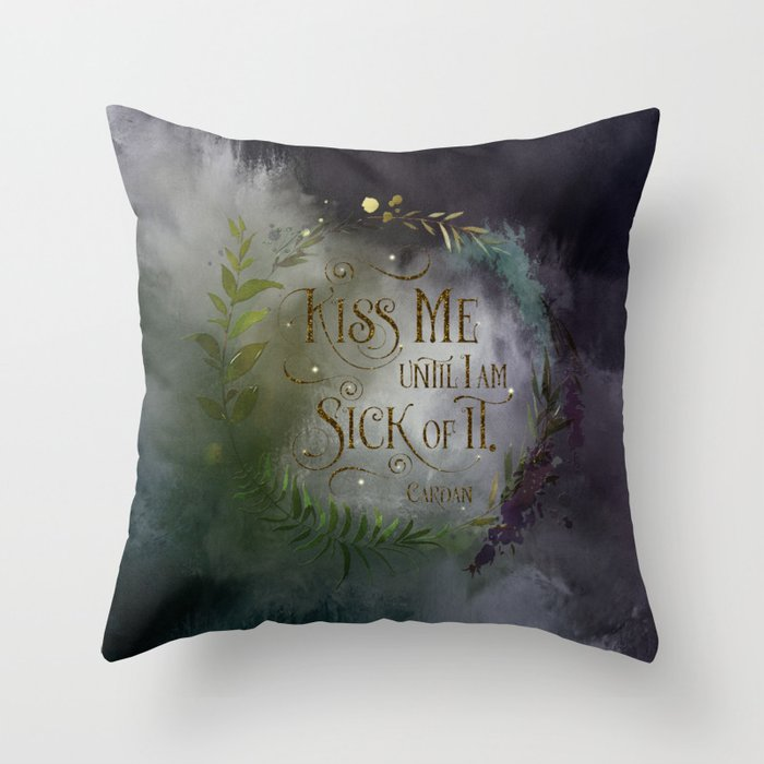 Kiss me... Cardan Quote Pillow - LitLifeCo.