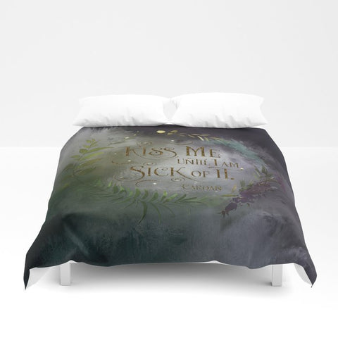 Kiss me... Cardan Quote Duvet Cover - LitLifeCo.