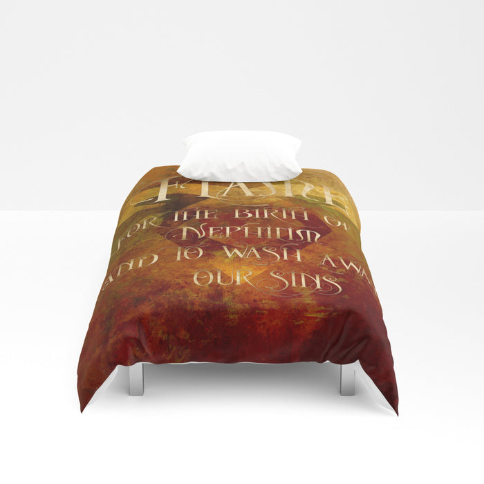 FLAME for the birth of a Nephilim... Shadowhunter Children's Rhyme Quote Duvet Cover - LitLifeCo.