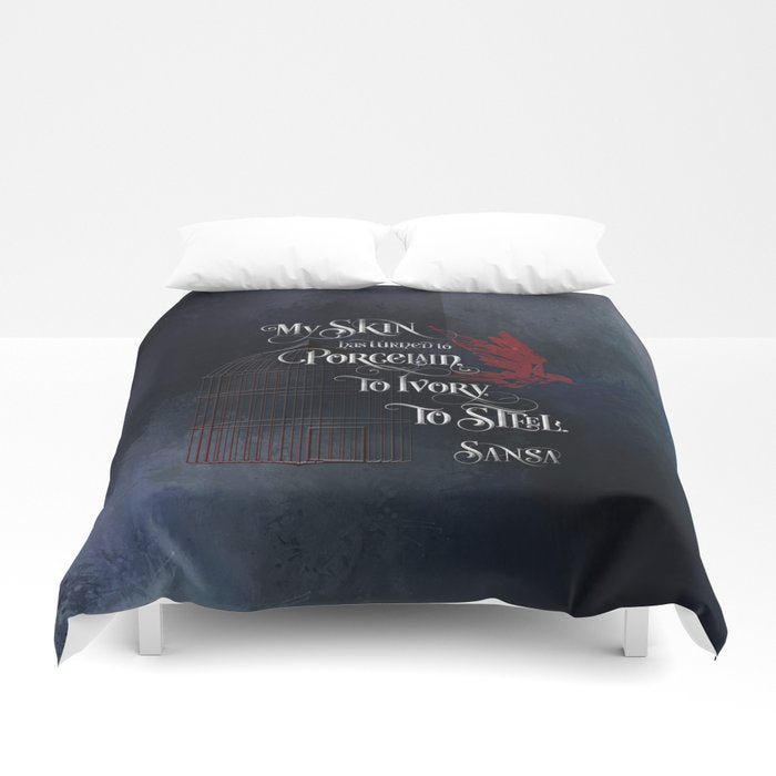 My skin has turned to porcelain... Sansa. Game of Thrones (A Song of Ice and Fire) Quote Duvet Cover - LitLifeCo.