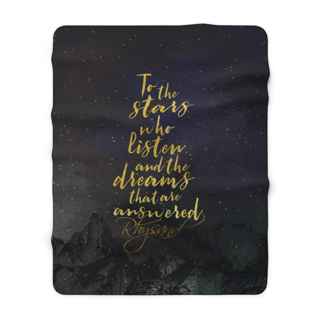 To the stars who listen... Rhysand Quote Throw Blanket