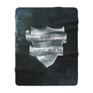 When you're armored... Brienne Throw Blanket