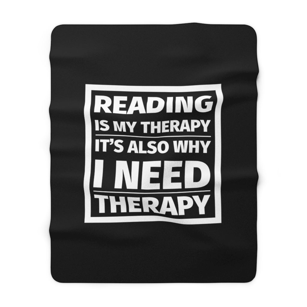 READING IS MY THERAPY Throw Blanket