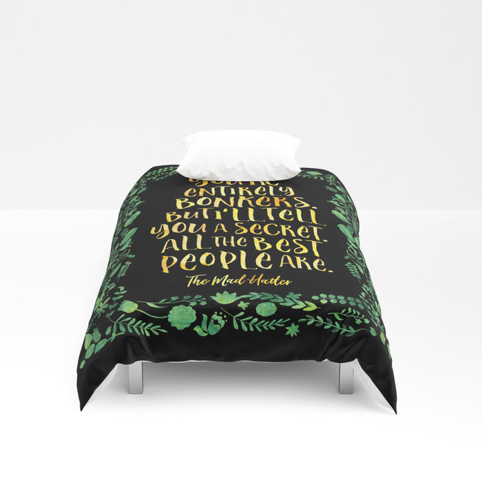 You're entirely bonkers... Alice in Wonderland Quote Duvet Cover - LitLifeCo.