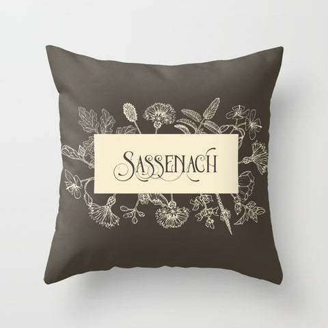SASSENACH  in Sepia Pillow - LitLifeCo.