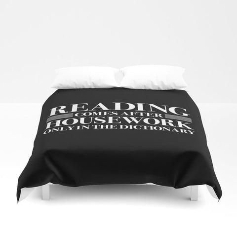 READING COMES AFTER HOUSEWORK Duvet Cover - LitLifeCo.