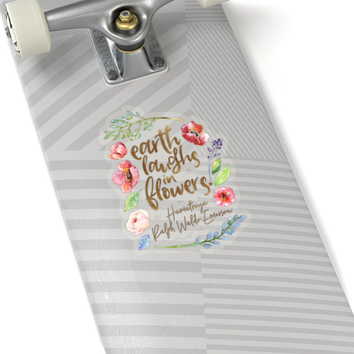 Earth laughs in flowers. Ralph Waldo Emerson Quote Sticker - LitLifeCo.