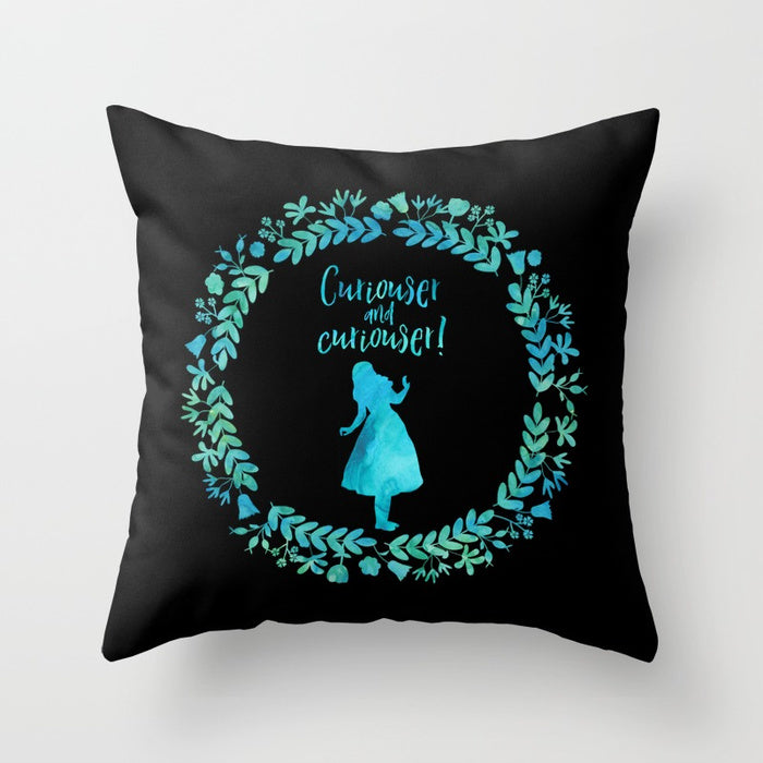 Curiouser... Alice in Wonderland Pillow - Literary Lifestyle Company