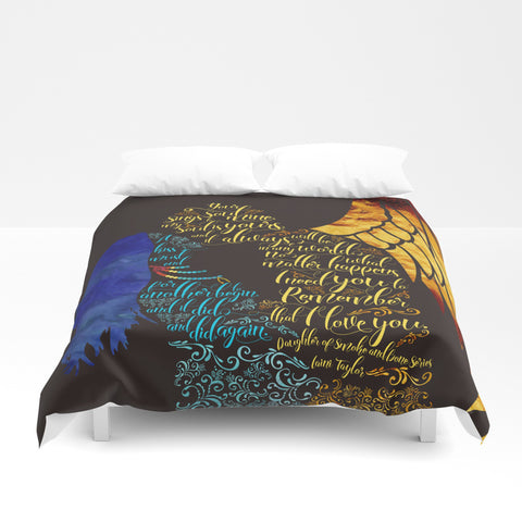 Your soul sings to mine... Daughter of Smoke and Bone Quote Duvet Cover