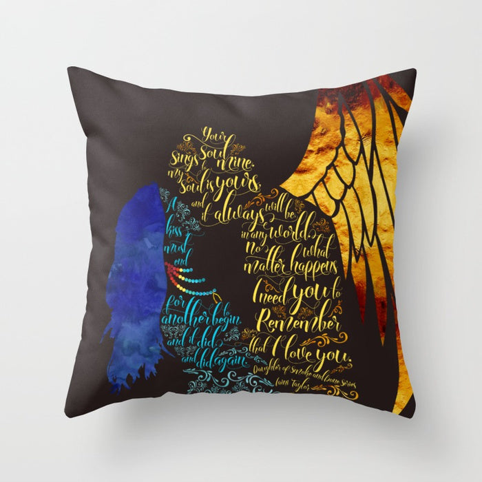 Your soul sings to mine... Daughter of Smoke and Bone Quote Pillow