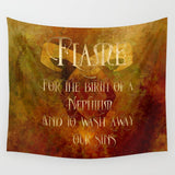 FLAME for the birth of a Nephilim. Shadowhunter Children's Rhyme Quote Wall Tapestry - LitLifeCo.