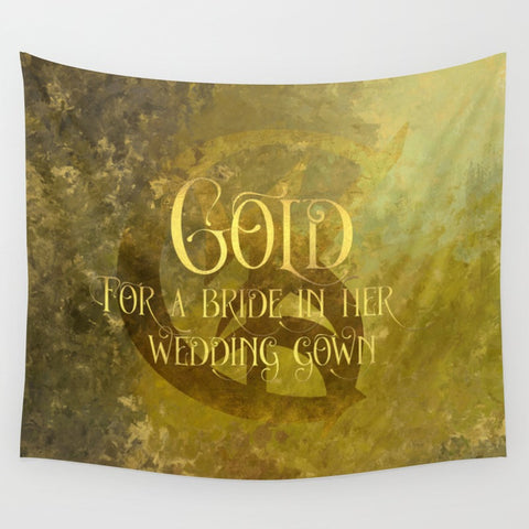 GOLD for a bride in her wedding gown. Shadowhunter Children's Rhyme Wall Tapestry - LitLifeCo.