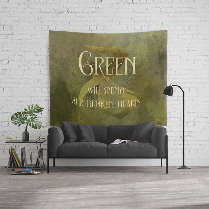 GREEN will mend our broken hearts. Shadowhunter Children's Rhyme Wall Tapestry - LitLifeCo.