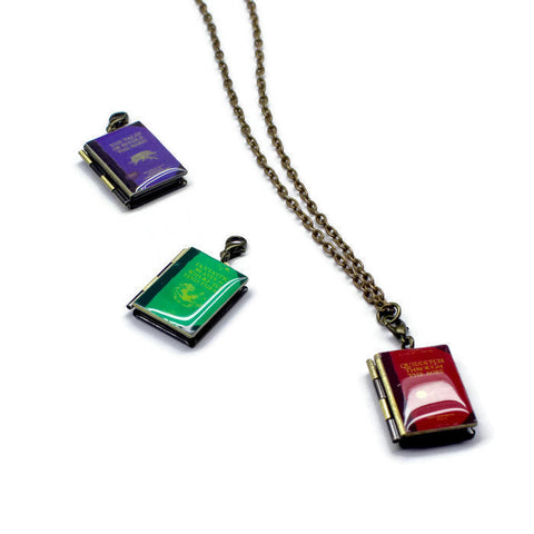 Hogwarts Library Interchangeable Book Locket Necklace - LitLifeCo.
